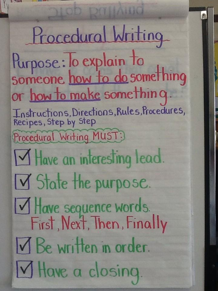 INTRO TO PROCEDURAL WRITING HANDOUT, GRADE 6 7 8, ONTARIO CURRICULUM, RUBRIC