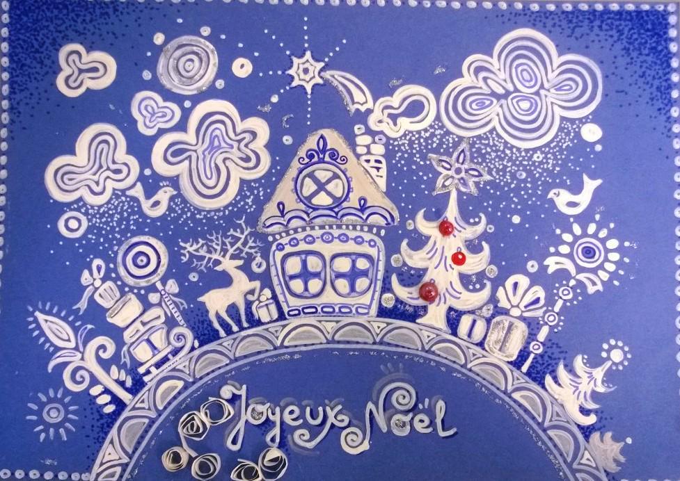 Днем, рисуем рождественскую открытку