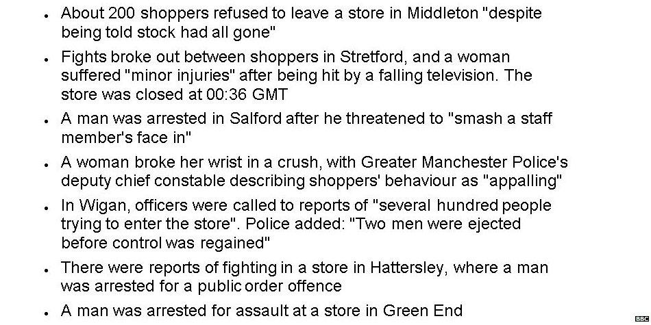 OFFICIAL: Britain now a dystopian parody show. This is the 'Black Friday' incident log from one police force alone... http://t.co/tIBfHsoxcr