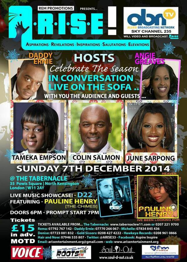 RT @ARISE33: @Tameka_Empson, @colinsalmon24 & @junesarpong join host @daddyernie at the @TabernacleW11 next week! http://t.co/WNjswoS4Ch