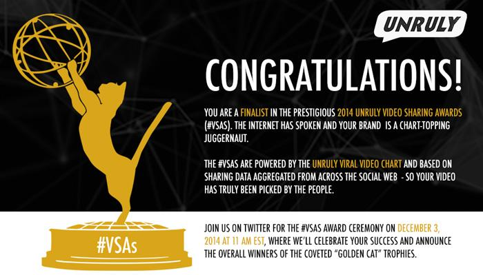The stars are out! The finalists for Most Shared Celebrity Ad are @nike, @shakira and @edsheeran #VSAs http://t.co/BH4QXGzwBN
