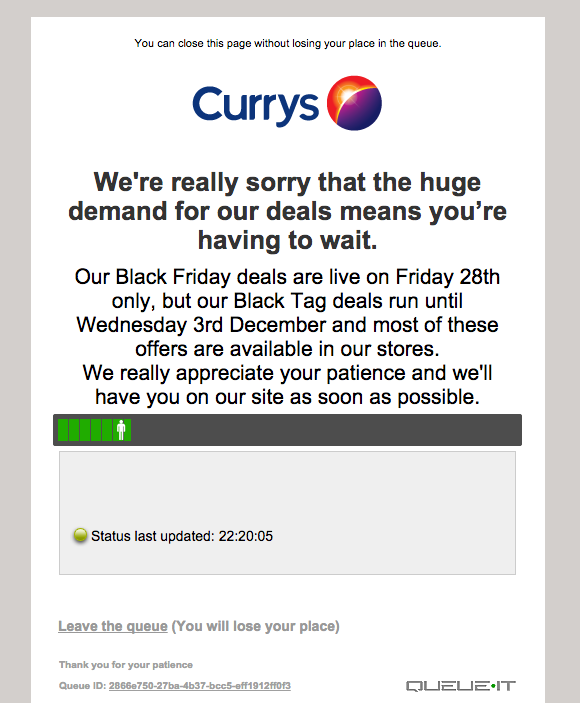 #BlackFridayUk means getting in line - online @curryspcworld #crazy http://t.co/uX9DxKc1eo