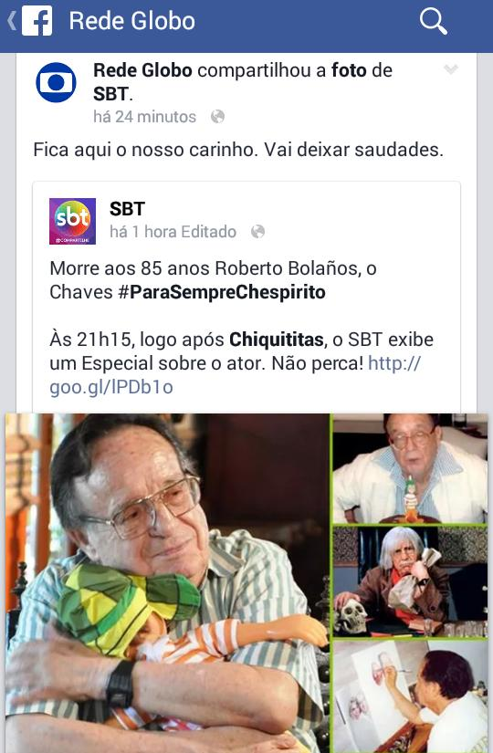 Rede #Globo divulgando programação do #SBT no #Facebook? #RipChaves #Chavo http://t.co/vKkPqXMTFx