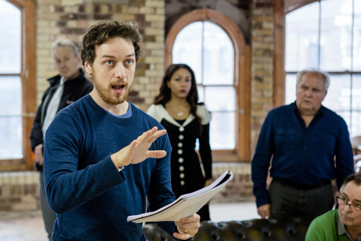 Here's James McAvoy rehearsing #TheRulingClass... catch him on @wossy at 10.50pm this evening. You're in for a treat.