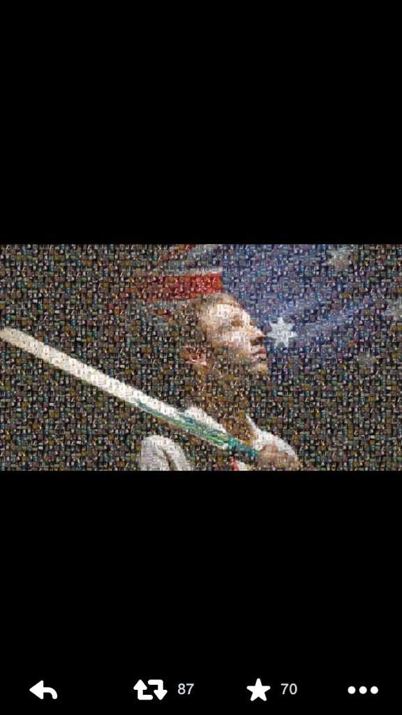 Mosaic of all the Phillip Hughes #putyourbatsout photos on social media. Beautiful http://t.co/vWmkxcrrZ2