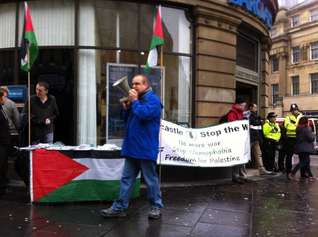 RT NewcstleStopWar: We teamed up with NewcastlePSC today in #Newcastle to tell BarclaysOnline to #StopArmingIsrael http://t.co/o8Ru9b0sxt