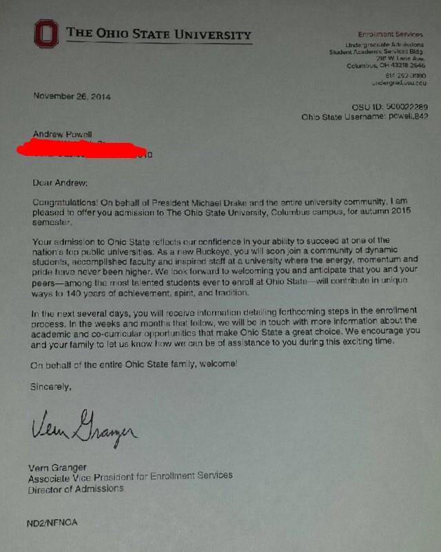 Andrew Powell On Twitter First Acceptance Letter From