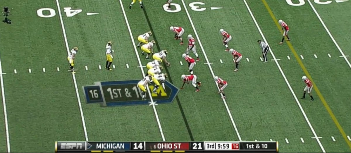 Ohio State has won 9 of last 10 meetings & hasn't lost a home game in series since \'00  Buckeyes lead by 7 #MICHvsOSU