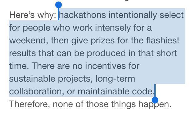 Why I don't like hackathons, by Alex Bayley aged 39 1/2: http://t.co/2vp8PM3qON /via @jbenton http://t.co/bfV1CehAUI