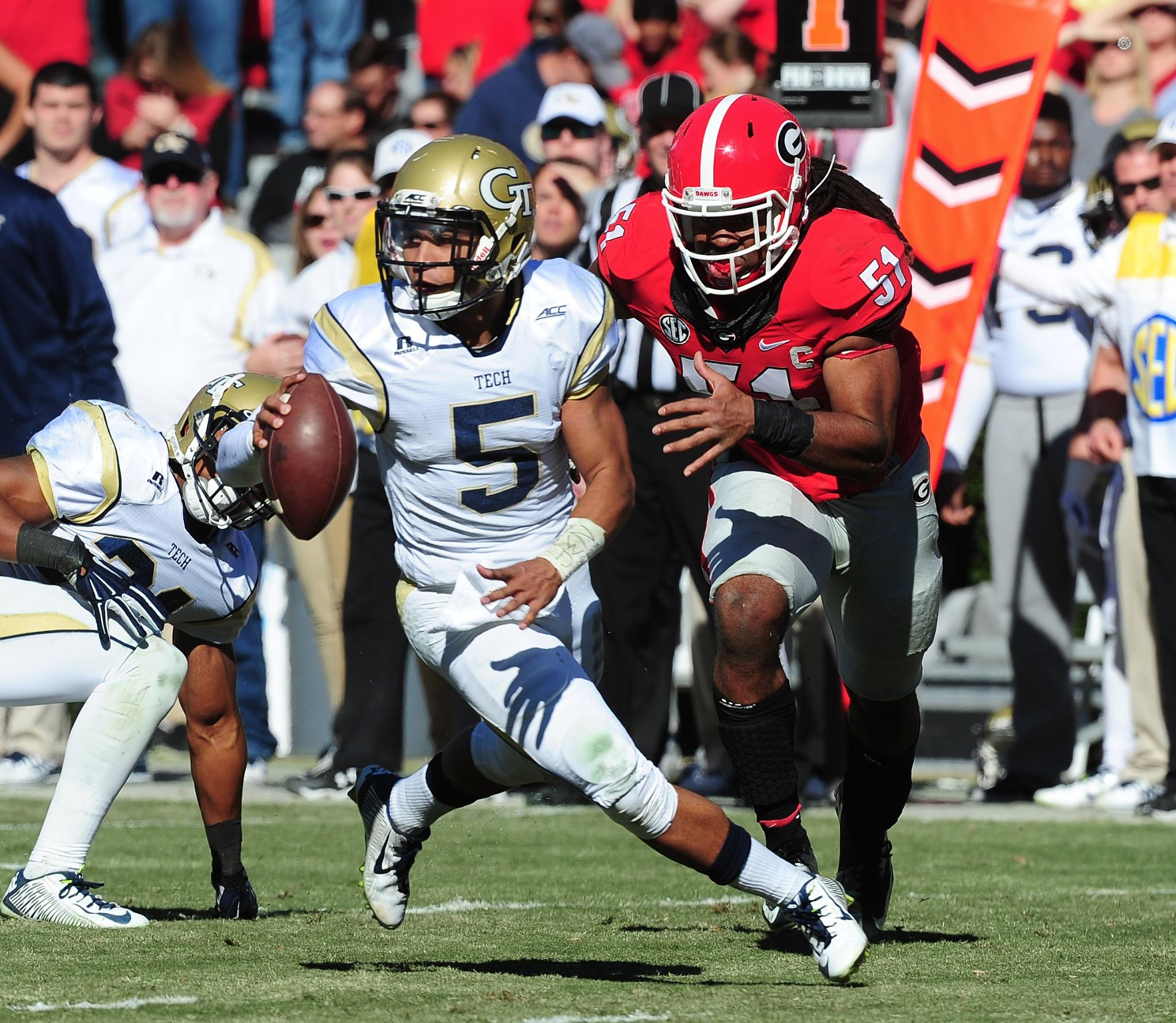 RT @ESPNCFB: #16 Georgia Tech upsets #9 Georgia, 30-24 in OT  Yellow Jackets finished with 399 Rush Yds / 64 Pass Yds  #GTvsUGA http://t.co?