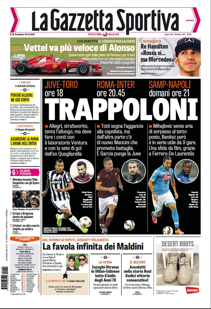Portada de La Gazzetta dello Sport del 30 de Noviembre