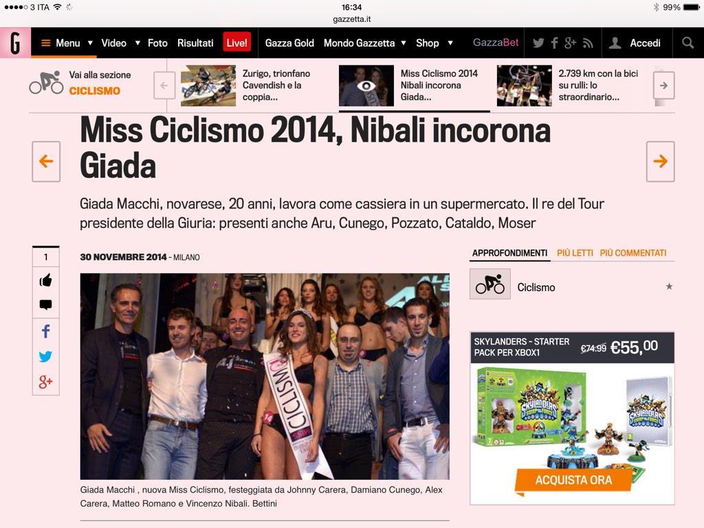 Miss Ciclismo: il re del Tour, Vincenzo Nibali, ha incoronato Giada Macchi