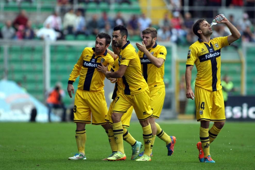 Ristovski and teammates celebrate Parma's goal
