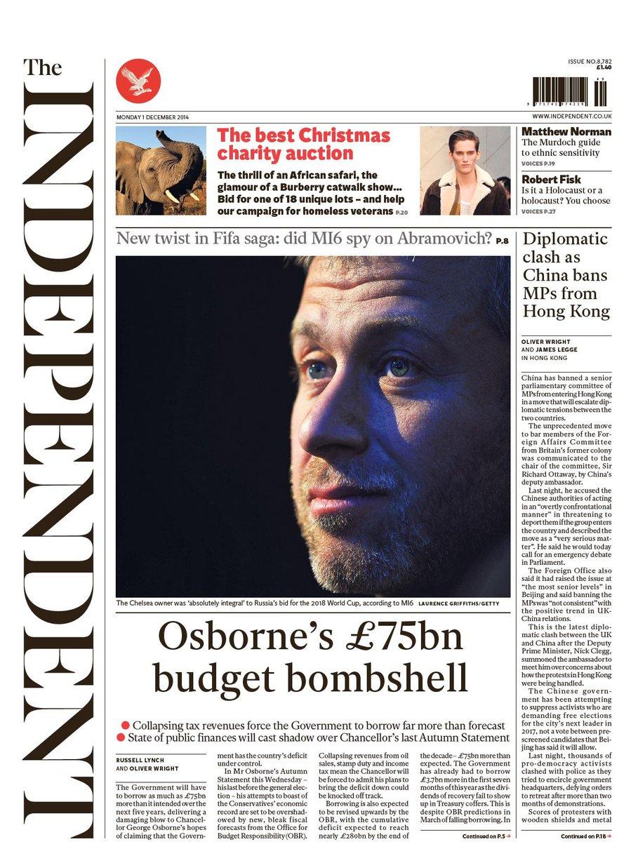 Portada de The Independent del 1 de Diciembre