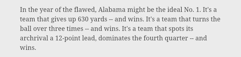 Lol. This has been a negative for fsu all year and now ESPN turns it into a positive for Bama. Can't make this up. http://t.co/vq9PHD1yXp