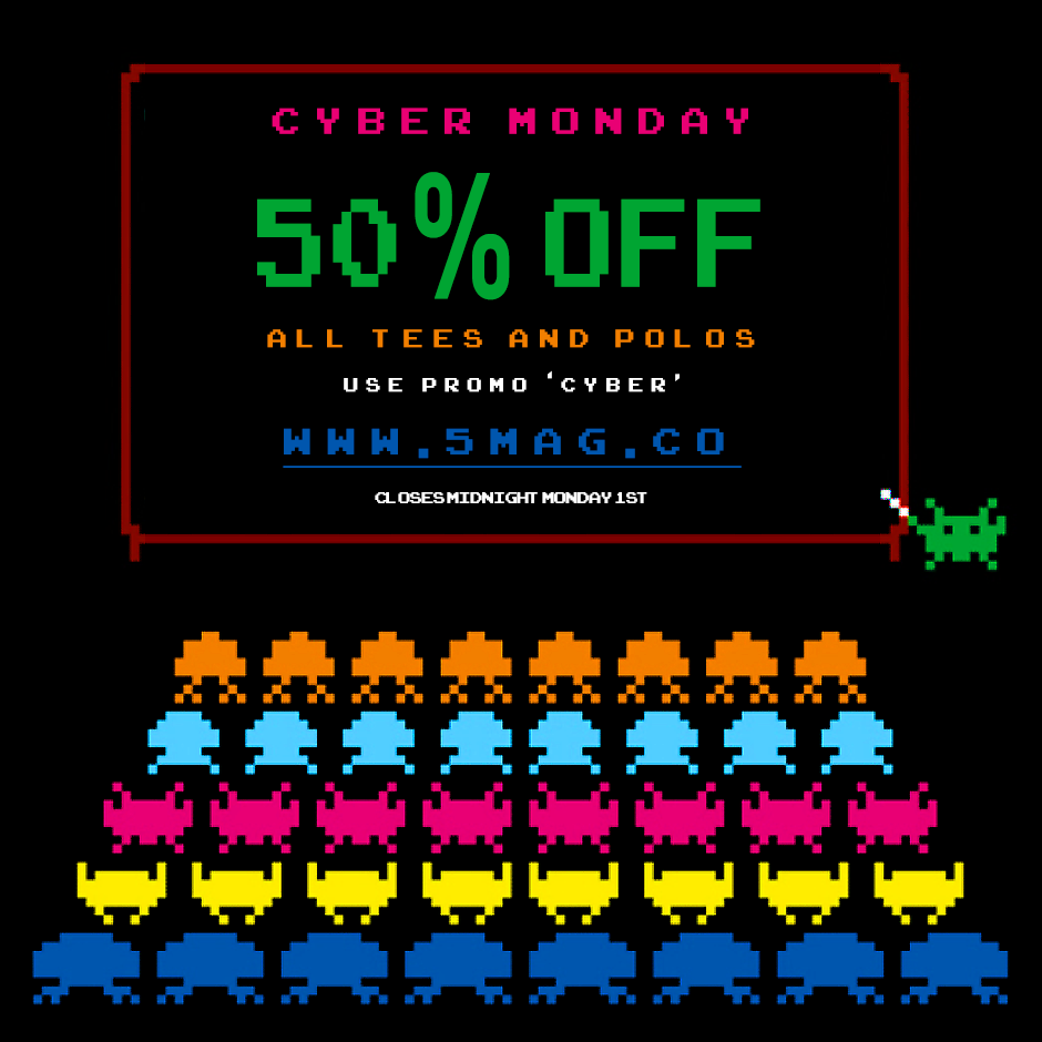 RT @5mag: #CyberMonday 50% OFF all Tees + Polos at the #5 Store for the next 24hrs.   Use coupon: CYBER  http://t.co/ypXxwF7g89 http://t.co…