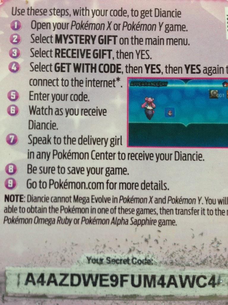 No more Diancie Codes left! #Pokemon #PokemonORAS #diancie #dianciecode #iwishihadaglassbottledcokepic.twitter.com/GnTanSxgQb