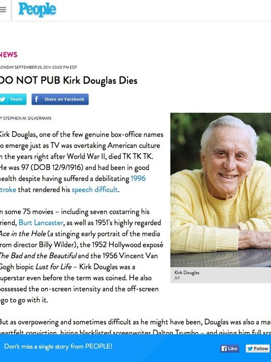 No, veteran actor Kirk Douglas is not dead: http://t.co/JjVoY7ckEd (@PeopleMag screengrab) http://t.co/L3fJu8Yc5n