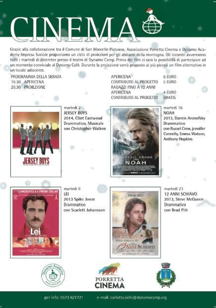 Cinema insieme a @DynamoCamp: ogni martedì di dicembre a partire dalle 19:30. Domani Jersey Boys di Clint #Eastwood_ pic.twitter.com/WFcOI6Wuxs