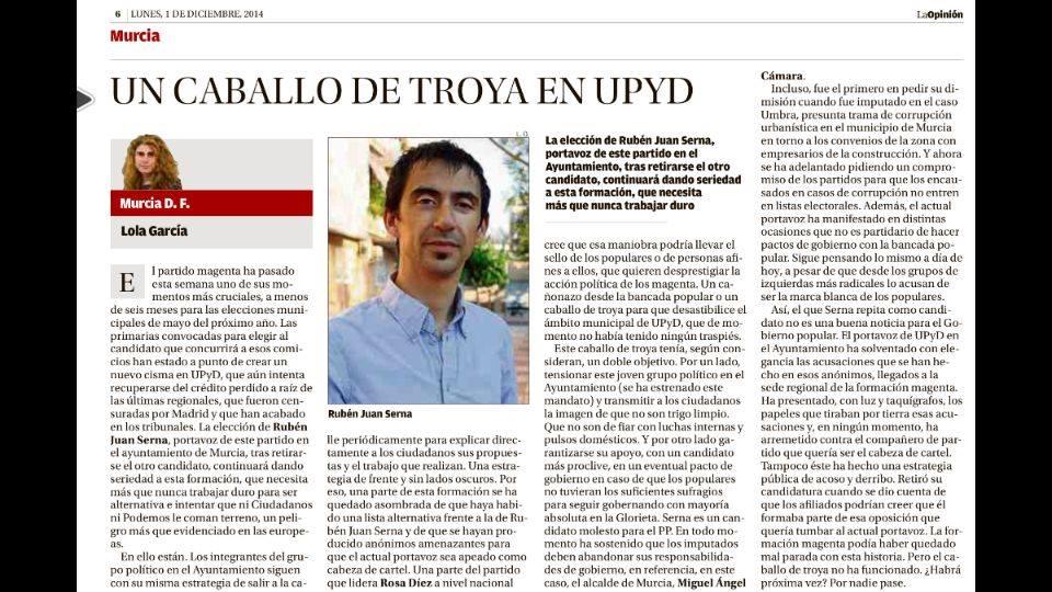 """Lola Gracia sobre las primarias de @UPyD en #Murcia: """"Un caballo de troya en UPyD"""", y no va por @rubenjuans http://t.co/bQs25J4wDH"""