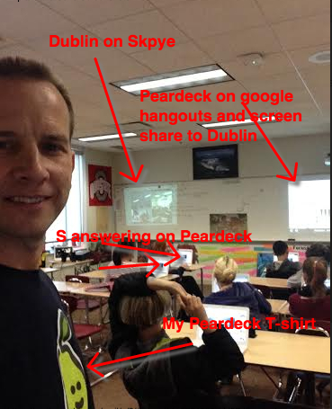 """@GarthHolman: How much fun! #Peardeck with @DMSArmstrong classes via #skype, #googlehangouts #dubchat  #oetc14 http://t.co/X3HW6BjnhI"""