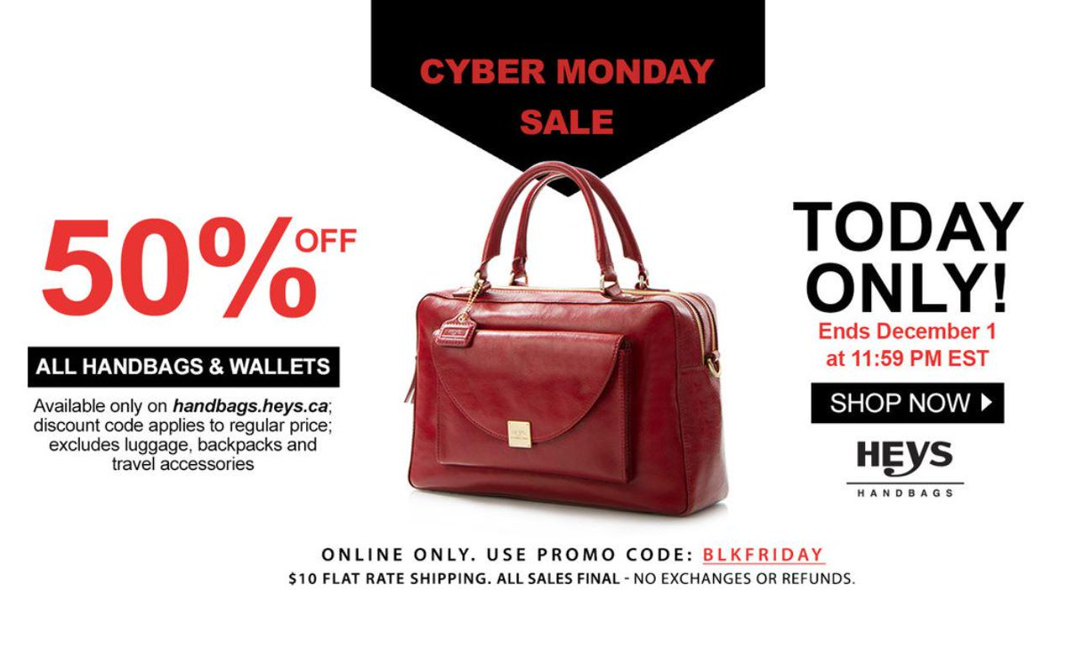 Heys Handbags On Twitter Last Call All 50 Off Cybermonday Canadian Residents Only T Co Kigsgzkdrs