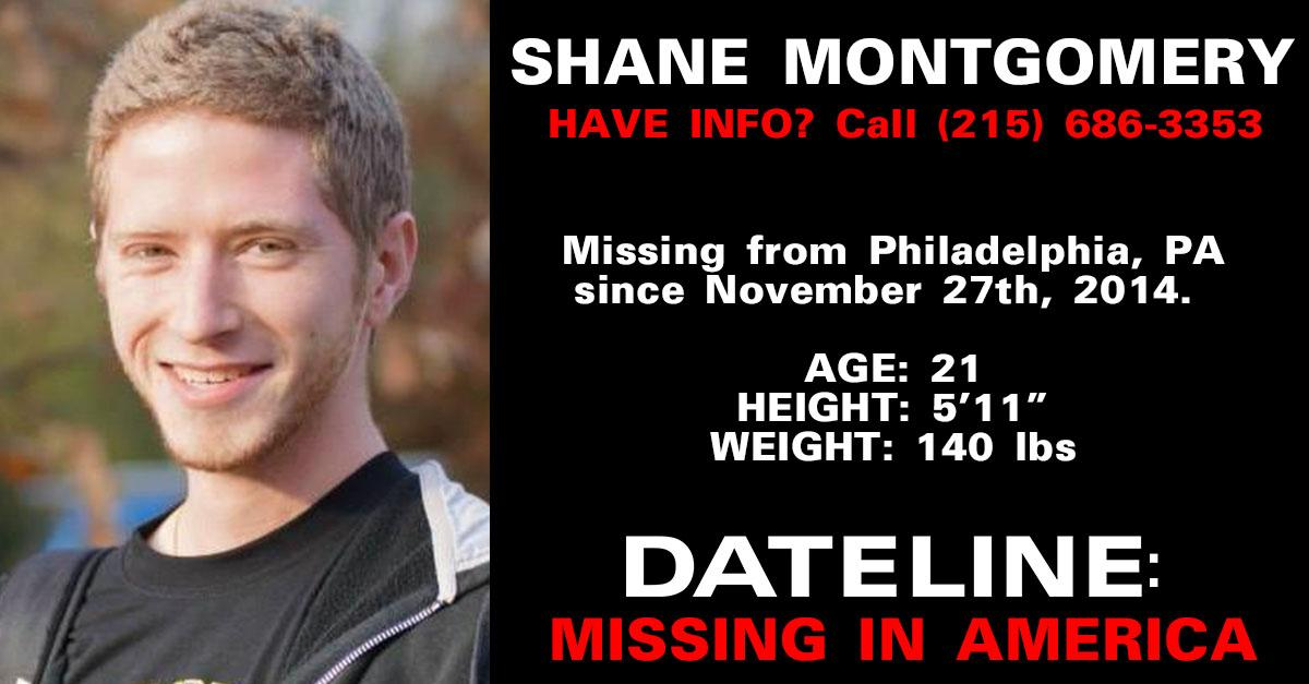Shane Montgomery vanished in the early hours of Nov. 27th. Can you #HelpFindShane? http://t.co/J2Kv4PA6O8 #Dateline http://t.co/aUiZNCI3eb