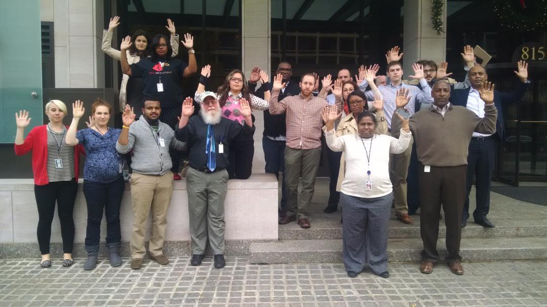 .@AFLCIO employees stand in solidarity w/Ferguson. #HandsupWalkOut because #BlackLivesMatter http://t.co/LBr6YUtaDD