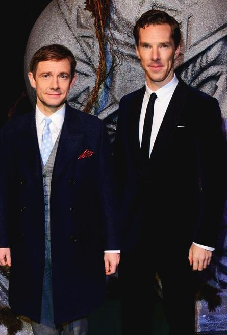 Benedict Cumberbatch and Martin Freeman today at the Hobbit premiere #OneLastTime