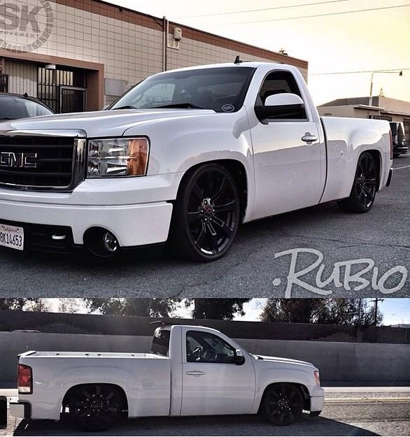 truck in single stone motorsports sierra design build gmc authority blue lowered cab retro reg msa white metallic regular