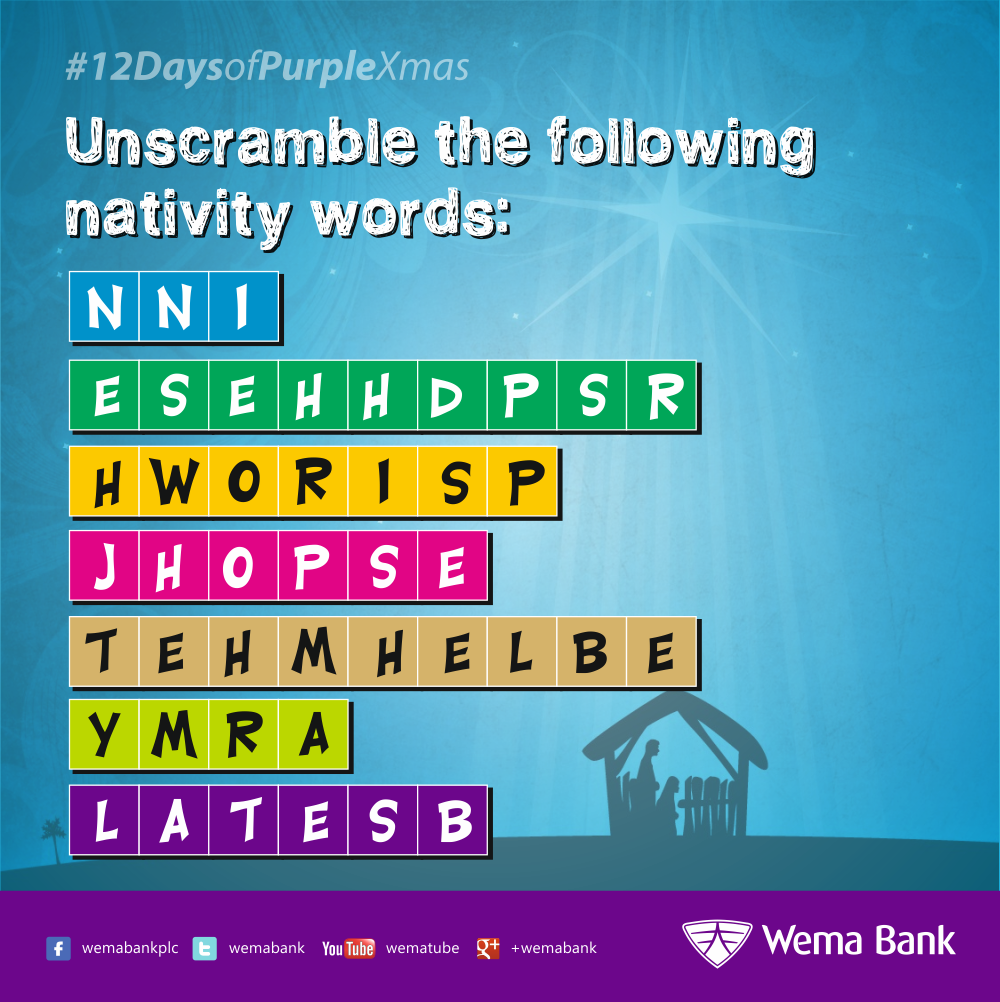 wema bank on twitter day 3 unscramble all the christmas words in the picture below purplexmas 12daysofpurplexmas wemabank httpt cogy93mgigud