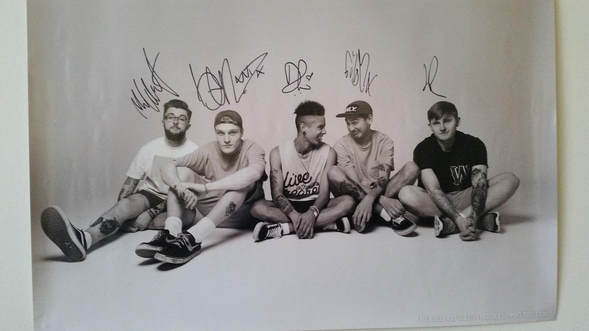 We love our signed photo from @NeckDeepUK @SubCityNP @hopelessrecords Profits donated to @BulliesOut :) http://t.co/CsMTXbGc7s