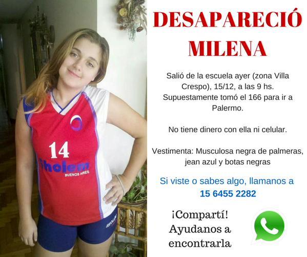 Villa Crespo: Milena (13) fue vista por última vez ayer. http://t.co/laUdpu1mRJ (vía @RedesPuraVida) @adultosperdidos http://t.co/Y7ojNjRseM