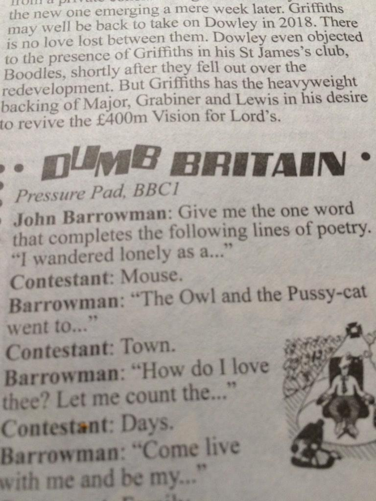 To be fair, I think Wordsworth missed a trick here http://t.co/ZyyK6Rj12l