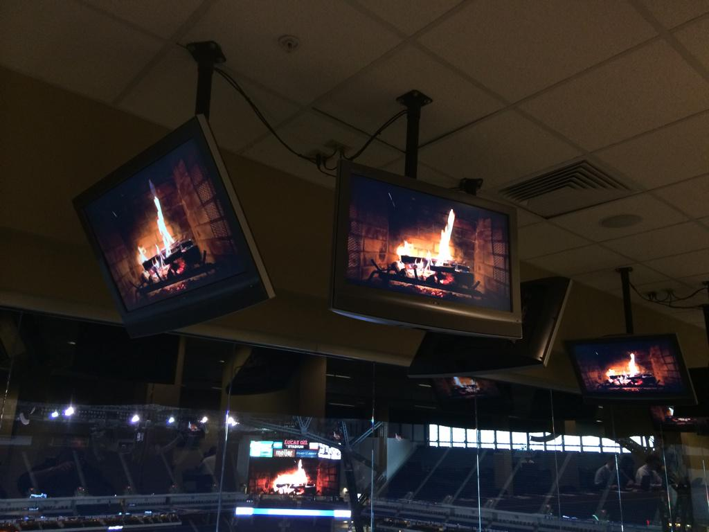 Colts keep stadium warm with giant fake fireplaces