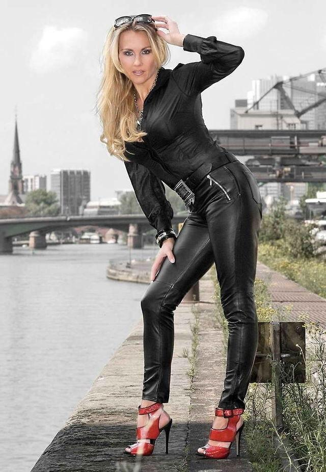 Hot Leather Clad Blonde Teen 32