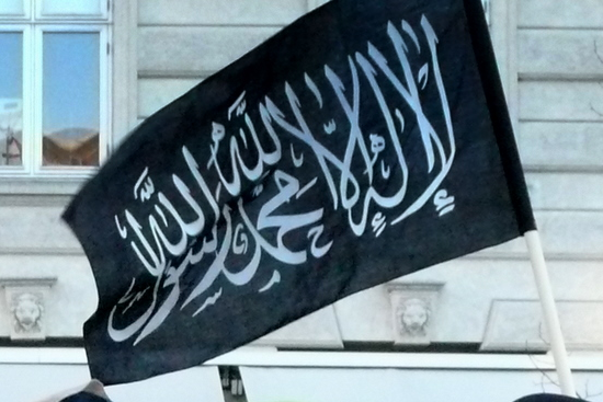 Same Shahada flag as in Sidney. From a Hizb Al-Tahrir protest in Germany. http://t.co/ylThsHWMrK