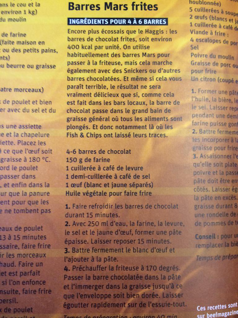 Something I never thought I'd see... a recipe for deep fried Mars Bars in a French cookery magazine http://t.co/HpX6TqZUBO