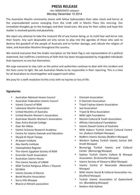 The Australian Muslim community releases a statement with regard to #Sydneysiege http://t.co/TBSBYzD1xd http://t.co/HgHhpuvsWk