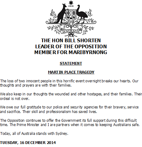 Federal Opposition Leader Bill Shorten has released a statement #sydneysiege http://t.co/gWw6DAYbvh