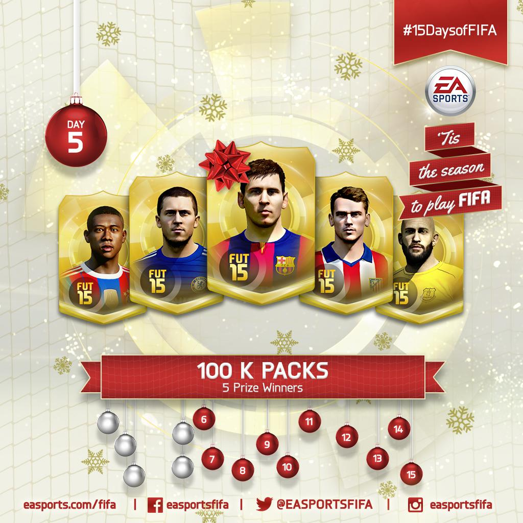 Day 5: we're gifting 100K packs! FOLLOW @EASPORTSFIFA and RETWEET for a chance to win! #15DaysofFIFA http://t.co/a9fCbuXVaj