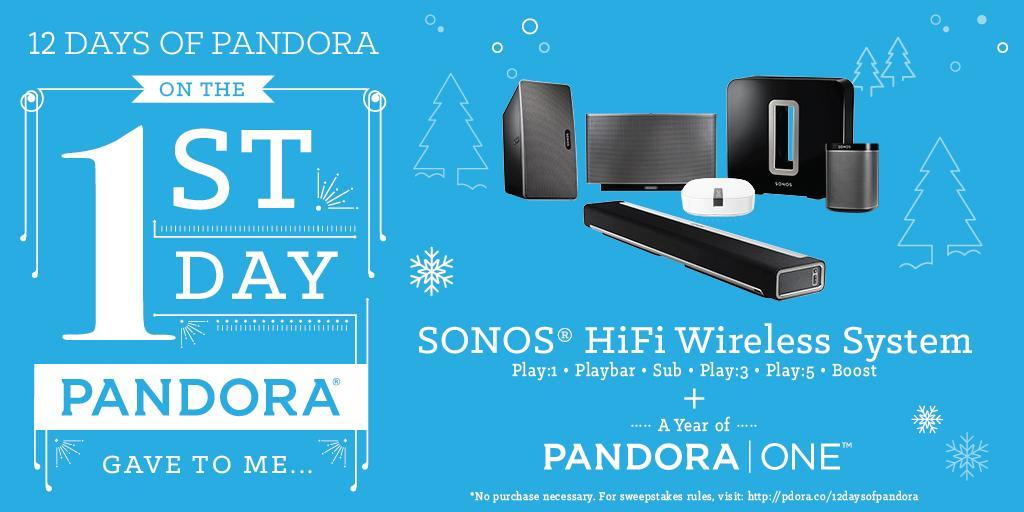 Day 1: @SONOS a soundin' + Pandora One! RT for a chance to win #12DaysofPandora