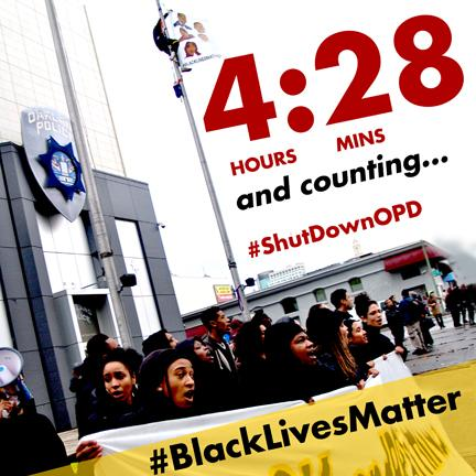 Moment of Silence @ 11:58am PST = 4 hours since #ShutdownOPD. 28 mins = #every28hours #BlackLivesMatter #endthewar http://t.co/oNs6BSFahz
