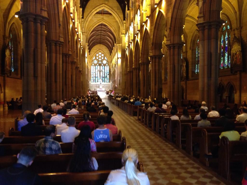 "Service at St. Mary's Cathedral in Sydney for Martin Place victims. ""Hell has touched us."" @SBSNews http://t.co/TSAY7Nxa0W"