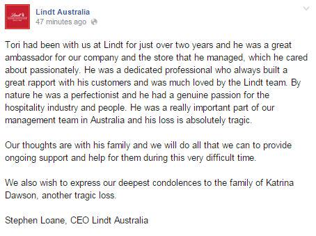 Lindt Australia pays tribute to Tori Johnson, the store manager killed during #sydneysiege.  http://t.co/Dupc9odAhT http://t.co/Jj9eAPYfyJ