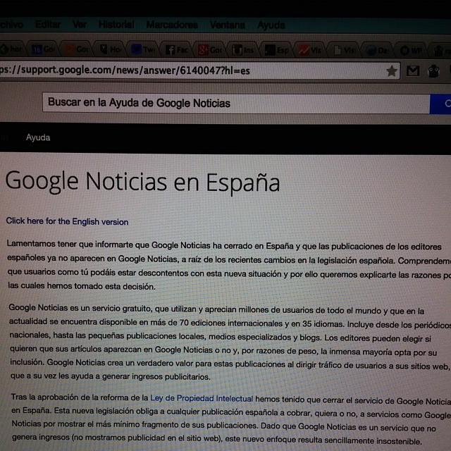 Esto es lo que te encuentras hoy al entrar a Google News gracias al Gobierno y la AEDE. Bochornoso. http://t.co/SRxoRAer0w