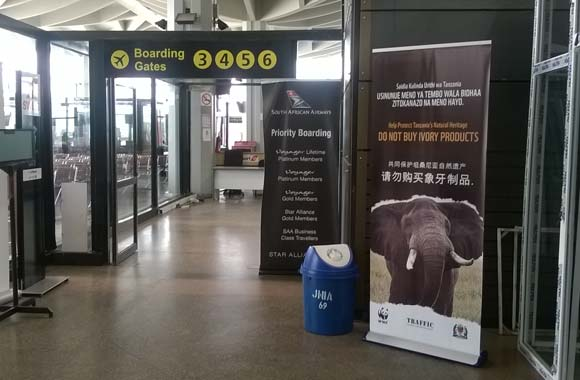 Ivory awareness banners installed Julius Nyerere International Airport, Tanzania: thanks to all who helped! http://t.co/JNGjWVlwLX