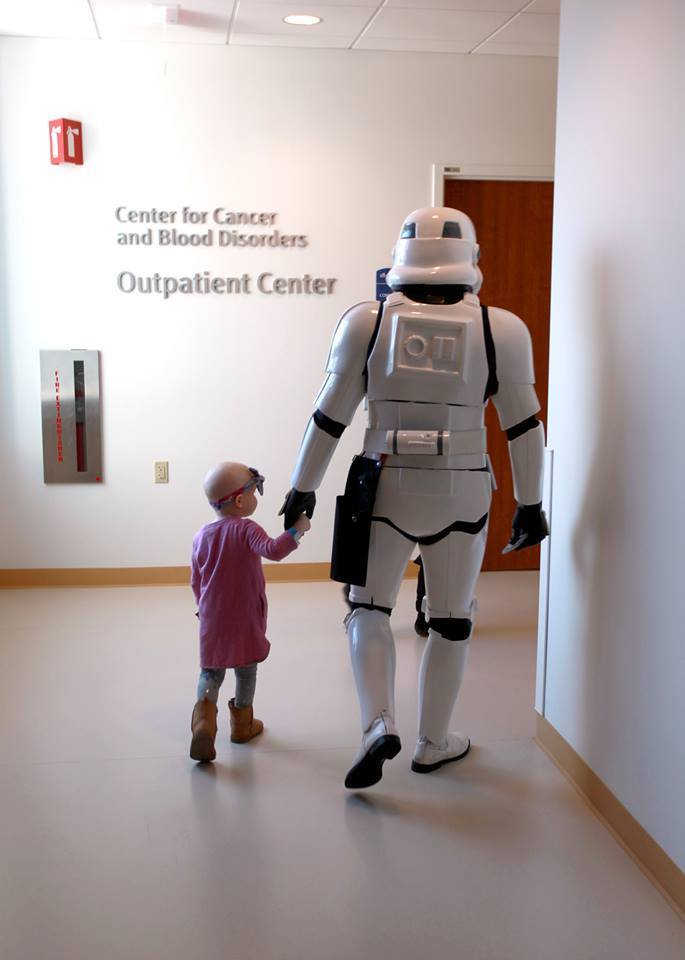 For Storm Troopers who hold hands with little kids on their way for cancer treatments, we give thanks. #501st http://t.co/aRhh9I4DkP
