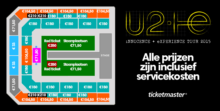 ticketmaster nl on twitter plattegrond u2 ziggodome inclusief prijzen. Black Bedroom Furniture Sets. Home Design Ideas