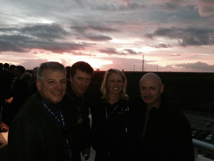 A photo taken 15 min prior to planned launch time of EFT-1. Nice gathering of former shuttle crew mates and trainer. http://t.co/SkAc6EXFi8